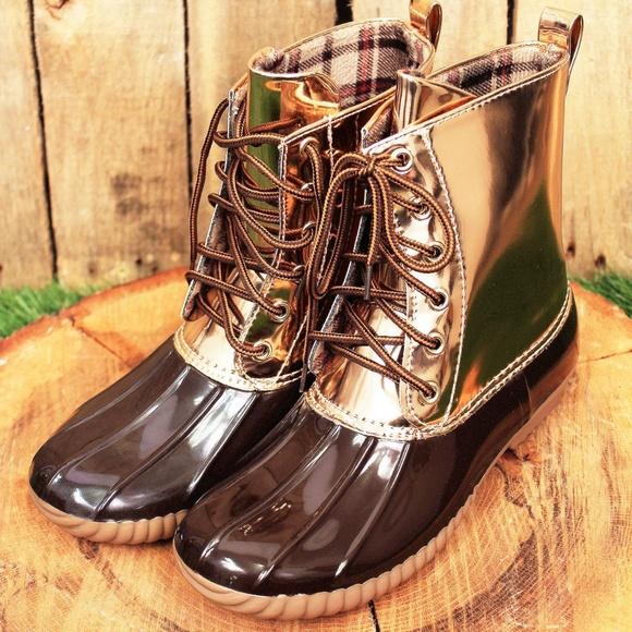 f794dbb9bde4 Yoki Brown   Metallic Gold Duck Boots (RUNS SMALL)